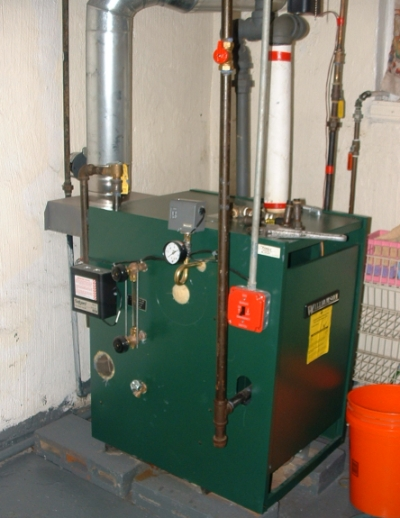 Gas steam boiler installation